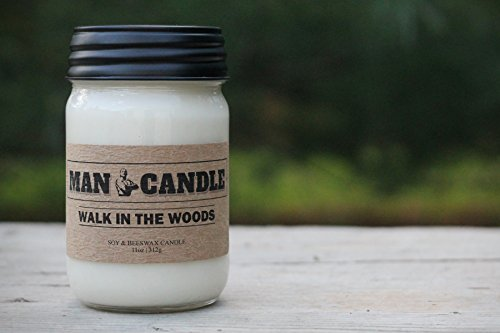 Best Man Candle - Best Soy Beeswax Candle - Premium Quality - Recyclable Mason Jar - Novel Gift - 11 Oz Large Candle – Walk in the Woods Scent