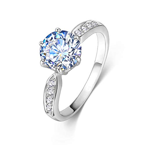 LOVOE Solitaire Ring 18k White Gold Plated 1.5ct Heart and Arrows Cut Cubic Zirconia Women Rings, Size 6.5