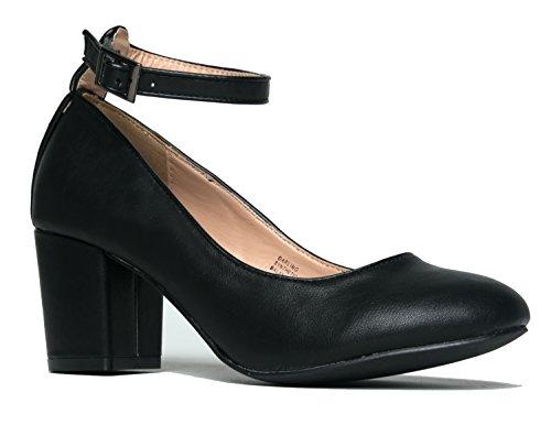 (J. Adams Ankle Strap Pump Heel -Comfortable Round Toe Dress Block Shoe - Darling)