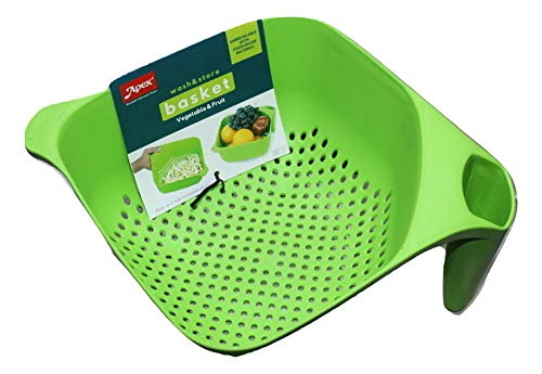 Apex Hard Plastic Vegetable Fruit Basket Rice Wash Sieve Washing Bowl, Multicolour  1 Piece