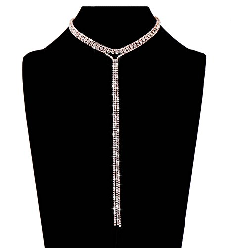 LIAO Jewelry 3 Row Rhinestone Tassel Choker Necklace Crystal Collar Necklace Gothic Wide Diamond Charms for Girls (Rose Gold) (Collar Party Rhinestone)