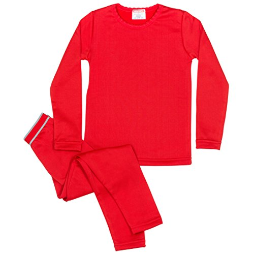 Rocky Girls Fleece Lined Thermal 2PC Underwear Set Top and Bottom (L, Red)