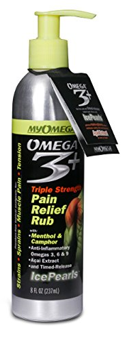 Myomega 8oz Triple-strength Pain Relief Rub treatment provides cooling relief for muscle aches, pains, sore muscles, and sports injuries. Contains Menthol & Camphor, Omega 3,6, & 9, & Arnica. Time release formula. by MyOmega