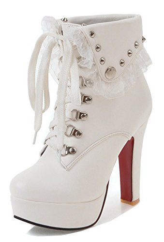 Fold Women's Up Chunky Boots Ankle High Studded Platform Over Short Dressy Booties White Heel Aisun Lace Round Collar Toe Fqwn1dx1PX