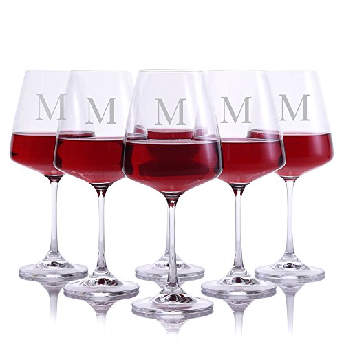 Personalized Crystal Cindy Red Wine Glasses With Titanium - Set of 6 Glasses Engraved & Monogrammed by Crystalize - Great Gift for Father's Day, Weddings and - Red Wine Monogrammed