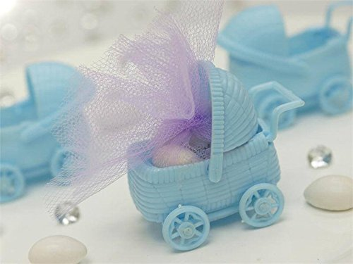 BalsaCircle 36 Blue Plastic Carriage Baby Shower Favors Fillers Table Scatters for Party Gifts Decorations Supplies