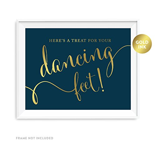 (Andaz Press Wedding Party Signs, Navy Blue with Metallic Gold Ink, 8.5x11-inch, Here's a Treat for Your Dancing Feet! Flip Flop Sandals High Heels Shoes Dance Floor Reception Sign,)