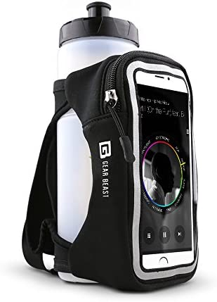 Gear Beast Handheld Running Water Bottle [23 oz] With Clear Touchscreen Cell Phone Accessory Pouch Zippered Pocket and Card Holder Fits All Smartphones, Hydration Pack For Running Hiking Travel & More