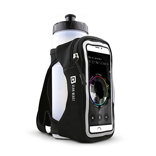 Gear Beast Handheld Running Water Bottle [23 oz] With Clear Touchscreen Cell Phone Accessory Pouch Zippered Pocket and Card Holder Fits All Smartphones, Hydration Pack For Running Hiking Travel & More by Gear Beast