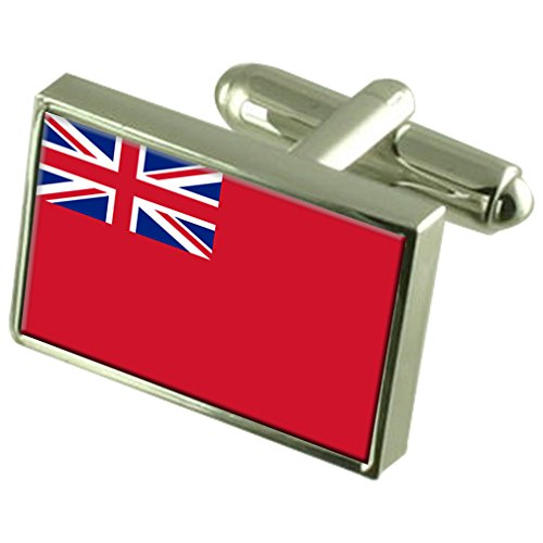 Red Ensign Militairy England Sterling Silver Flag Cufflinks Engraved Box