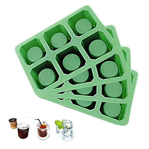 Quadra 4 Sets of 6 Cups Round Square Shape Ice Shot Glass Maker, Chocolate Mold, Jelly Ice Cube Tray. FDA Food Grade Silicone, Stylish Ice Mug Craft Tool in Sets Color: Green by DidaDi -
