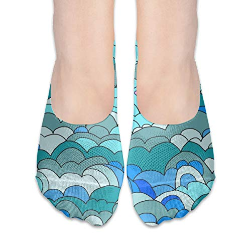 (Waves Clouds Seamless Extra Low Profile for women girl Casual Low Cut Non Slip invisible Boat Liner Socks)