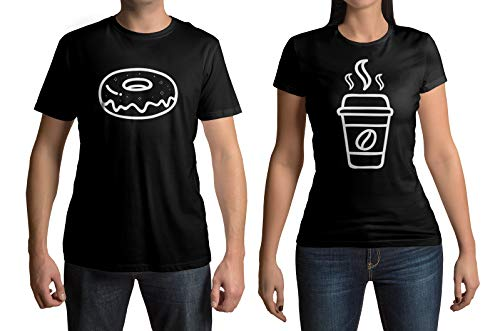 Coffee & Donut Men's & Women's Matching Couples T-Shirt Set (Men's: Donut, L, Black|Women's: Coffee, M, Black)