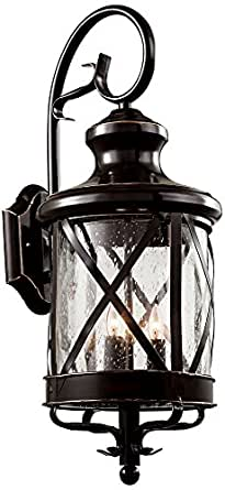 "Trans Globe Lighting 5122 ROB Outdoor Chandler 28.75"" Wall Lantern, Rubbed Oil Bronze"