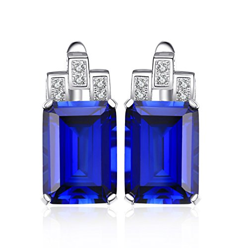 JewelryPalace Luxury Emerald Cut 12.1ct Created Blue Sapphire Hoop Earrings 925 Sterling Silver -