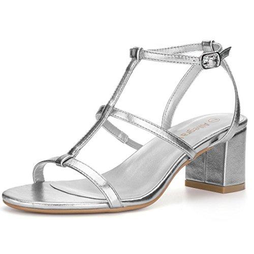 Allegra K Women's Open Toe T-Strap Block Heel Silver Sandals - 6 M US SG7YoJ