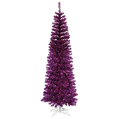 Vickerman Pre-Lit Purple Tinsel Pencil Artificial Christmas Tree with Purple Lights, 4.5'