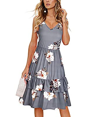 OUGES Women's Summer V Neck Floral Sleeveless Ruffle Swing Casual Short Dress with Pockets