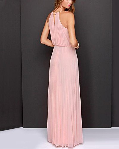 Coctel Largo Fiesta Vestido Pink Cabestro Gasa Mangas de Vestidos Vestido Vestido de Sin Mujer SORxI57