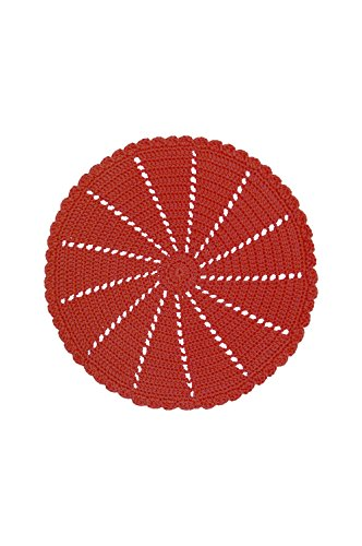 Heritage Lace Mode Crochet Round Ruby Doily/Charger, 15-Inch, - Red Doily