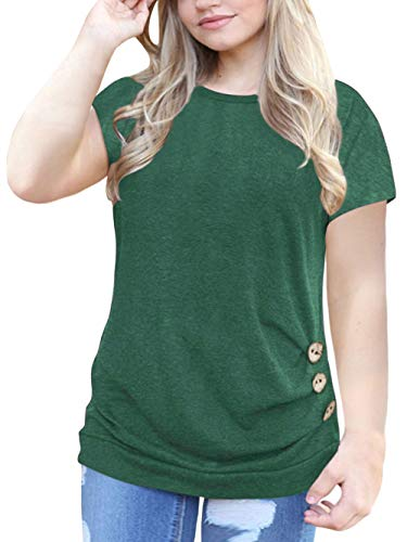 VISLILY Womens Plus Size Tshirt Casual Short Sleeve Buttons Tunic Shirt Blouse Green 16W