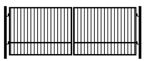 StandardGates Metal Black Square Security Gates And Wrought Iron Driveway Gate Kit Dual Swing, With Pickets 16' ()