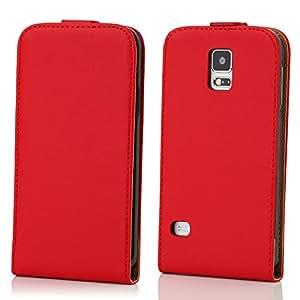 Kit Me Out ES ® Funda flip de cuero auténtico con interior de suave ante + Protector de pantalla con gamuza limpiadora de microfibra + Cargador para el coche para Samsung Galaxy S5 - Rojo / Marrón claro