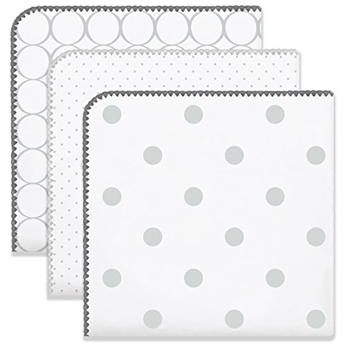 Flannel Premium - SwaddleDesigns Ultimate Swaddles, Set of 3, X-Large Receiving Blankets, Made in USA Premium Cotton Flannel, Mod Circles and Dots, Sterling (Mom's Choice Award Winner)
