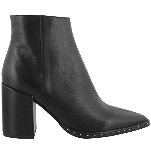 Tony Bianco Bailey Leather Ankle Boots for Women - with Pointed Toe & Silver Stud Detailing (7.5, Black Albany)