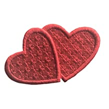 Avega Embroidered Iron on Pieces Applique 2 Patch Heart red