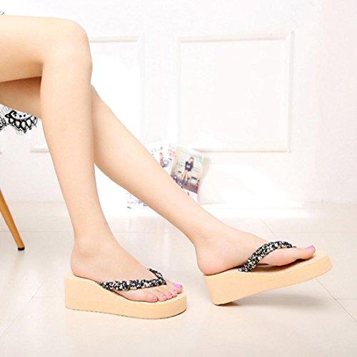 Tongshi Verano Bohemia floral dulce Sandalias sandalias de los fracasos del clip del dedo del pie zapatos de playa Verde