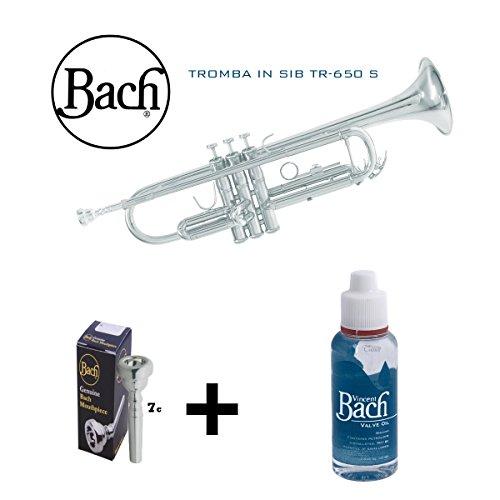 Trompete Bach versilbert in SIb TR 650S mit Etui, Mundstück und Schmiermittel Bach