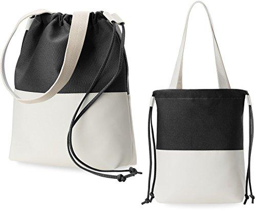 Leinen - Tasche Damentasche Beuteltasche Shopperbag schwarz