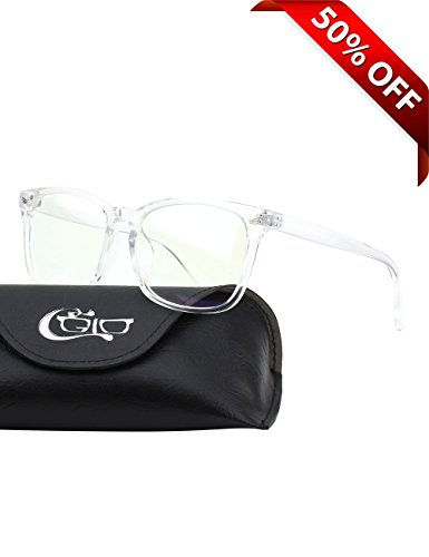 CGID CT82 Horn Oversized Blue Light Blocking Glasses,Better Sleep, Anti Glare Fatigue Blocking Headaches Eye Strain,Safety Glasses for Computer/Phone,Vintage Bold Transparnet Frame,Transparnet - Computer Screen Sunglasses