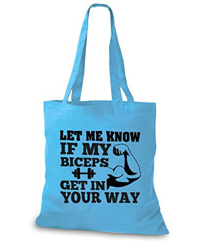 StyloBags Jutebeutel / Tasche Let me know if my Biceps get in your Way Sky