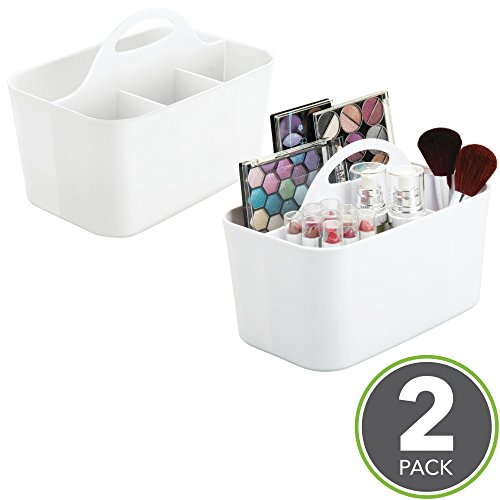 mDesign Bathroom Cabinet, Under Sink Storage Caddy, Divided Bin - BPA Free - 4 Section Tote with Built-In Handle for Organizing Soap, Shampoo, Conditioner, Cosmetics, Makeup - Pack of 2, (Tot Sink)