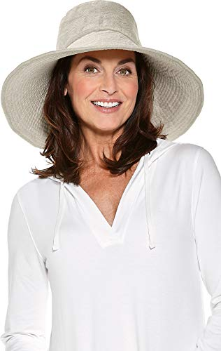 Coolibar UPF 50+ Women's Beach Hat - Sun Protective (One Size- Natural - Hat Lined Herringbone