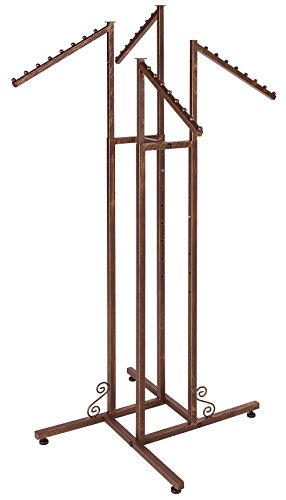 (SSWBasics 4-Way Clothing Rack with Slant Arms (Boutique Cobblestone) Heavy Duty Rack)