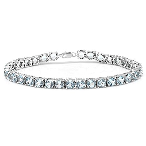 10.00 Carat (ctw) Sterling Silver Real Round Cut Aquamarine Ladies Tennis Bracelet
