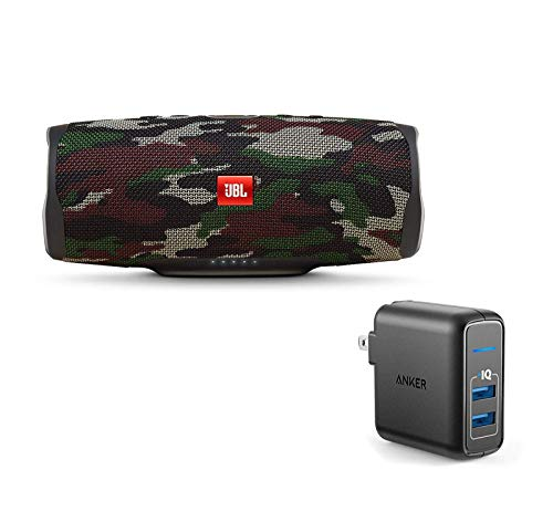 JBL Charge 4 Portable Waterproof Wireless Bluetooth Speaker Bundle with Anker 2-Port Wall Charger – Camouflage