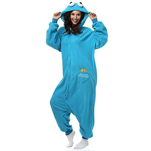 Adult Cookie Monster Onesie Polar Fleece Pajamas Cartoon Sleepwear Animal Halloween Cosplay Costume Unisex (XL (Height ()
