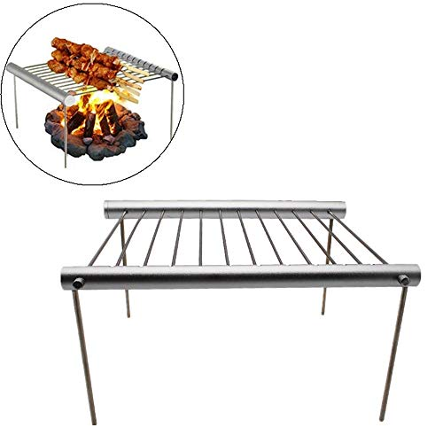 Gotian Portable Camping Grill Folding Rack Grill Outdoor Picnics Casual Barbecue Tool, All Grill Parts Can be Fitted into The Storage Tube, Takes up Minimal Space inYour Pack
