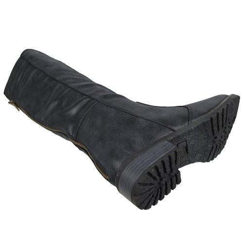 Botas Altas Hasta La Rodilla Para Mujer Zapatos Riding Comfort Western Zip Up Comfort Negro