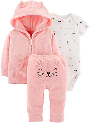 - Carter's Baby Girls' Cardigan Sets (Pink/Embroidered Pants, 3 Months)