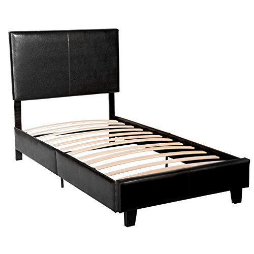 Merax Stylish Design Solid Metal Platform Bed Frame Mattress Foundation with Luxurious Headboard ,Black (Twin)