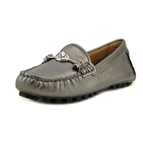 [COACH Women's Arlene Warm Pewter Metallic Driver Flat 10 M] (Dress Loafer Beef Roll)