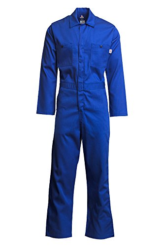 Lapco FR CVEFR7RO-SM RG Flame Resistant Economy Coveralls, 100% Cotton Twill with Moisture Management, HRC 2, NFPA 70E, 7 oz, Small Regular, Royal