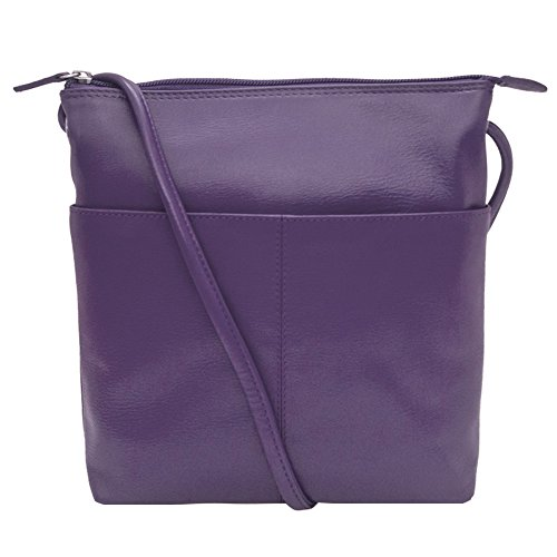 Sac Handbag ili Leather Purple Crossbody Lining Midi RFID 6661 with CwwtXqv