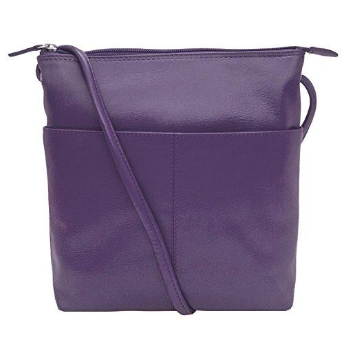 Lining RFID with Handbag ili Leather Midi Purple Sac Crossbody 6661 xwg8Cqp