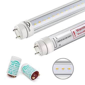 Auralum 2Pcs T8LED cristal Tubo de G1390cm 12W 1200LM con 96LEDs SMD 2835luz bajo consumo transparente, Tubo Neon A LED blanco caliente